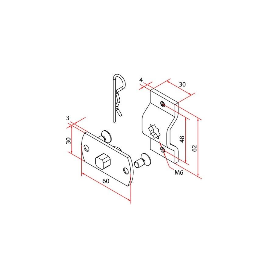Faac Motorsteun TM2 45 - motornok 10 mm + bevestigingsbeugel