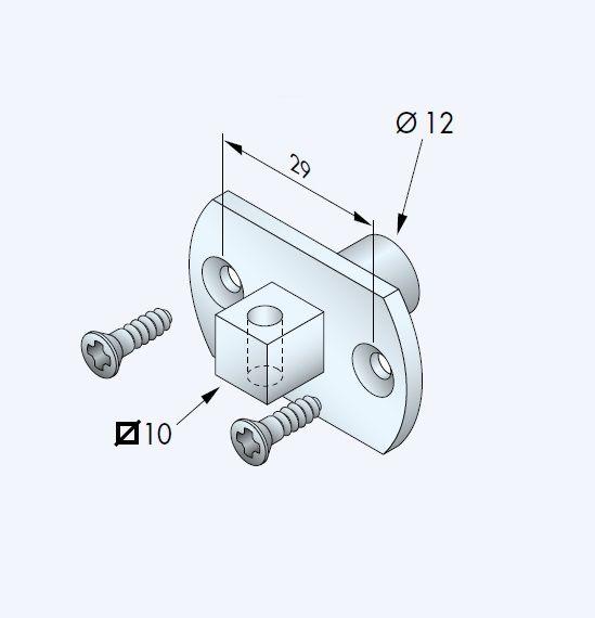 Simu Motorsteun Simu T3.5 stift vierkant 10 naar rond 12