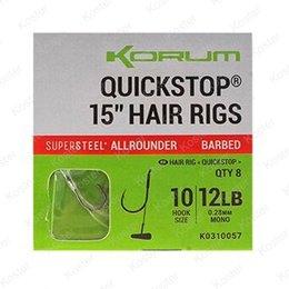 """Korum Supersteel Quickstop Hair Rigs 15""""-38cm"""