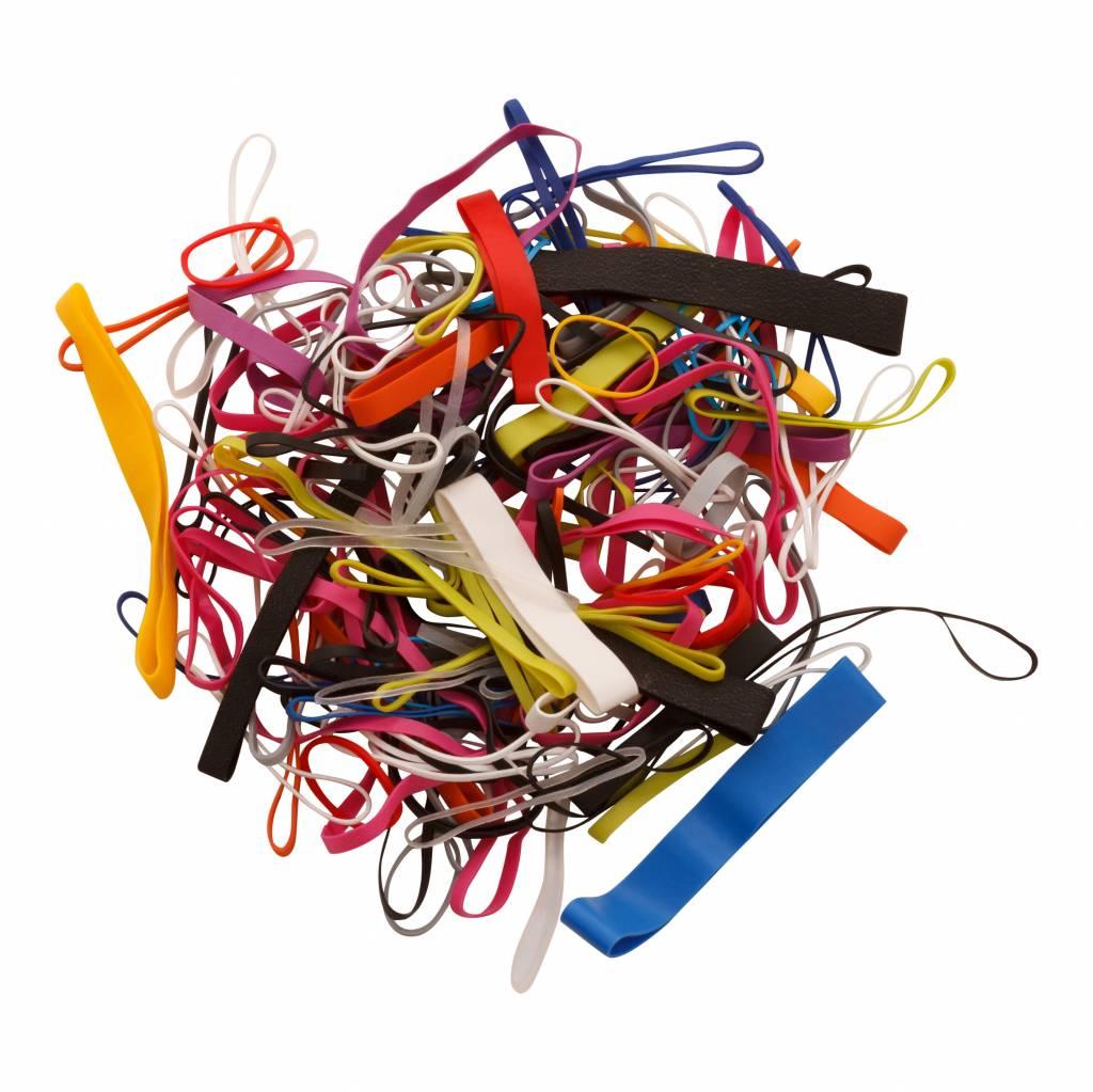 Sac avec 100 morceaux de bandes de caoutchouc colorés de différentes tailles