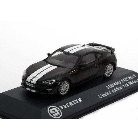 Subaru BRZ 2013  zwart met witte strepen - Modelauto 1:43