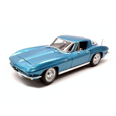Modelauto Chevrolet Corvette 1965 blauw metalic 1:18