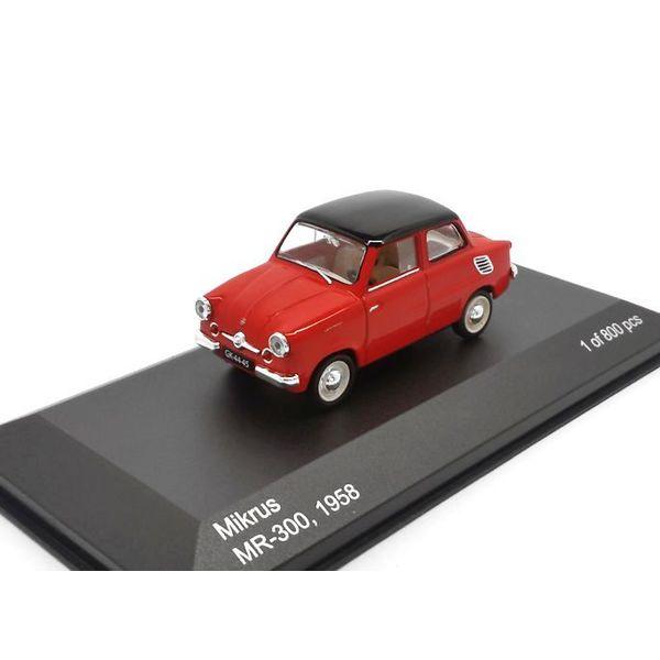 Modelauto Mikrus MR-300 1958 rood 1:43   WhiteBox