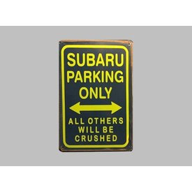 Parking Sign Subaru 20x30 cm blau / gelb