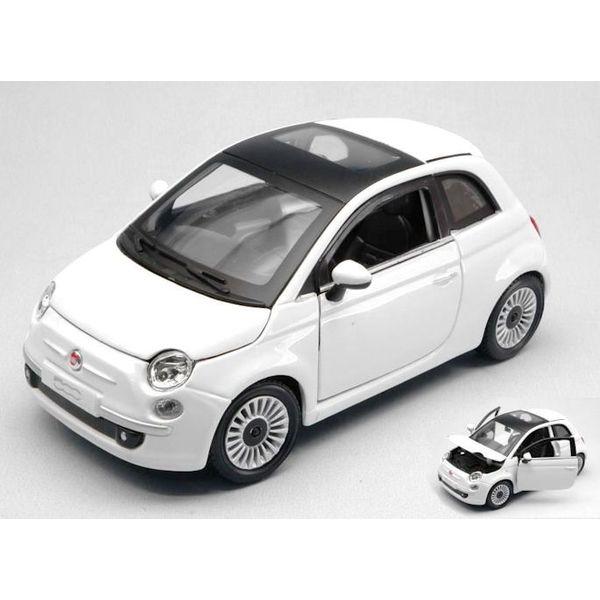 Modellauto Fiat 500 2007 weiß 1:24