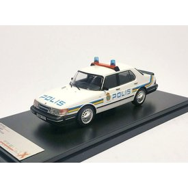 Premium X Saab 900i Polis 1987 wit - Modelauto 1:43