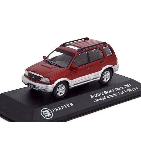Modelauto Suzuki Grand Vitara 2001 rood/zilver 1:43