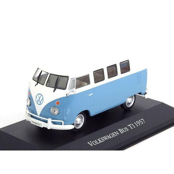 Modelauto Volkswagen VW T1 Bus 1957 blauw/wit 1:43 | Atlas
