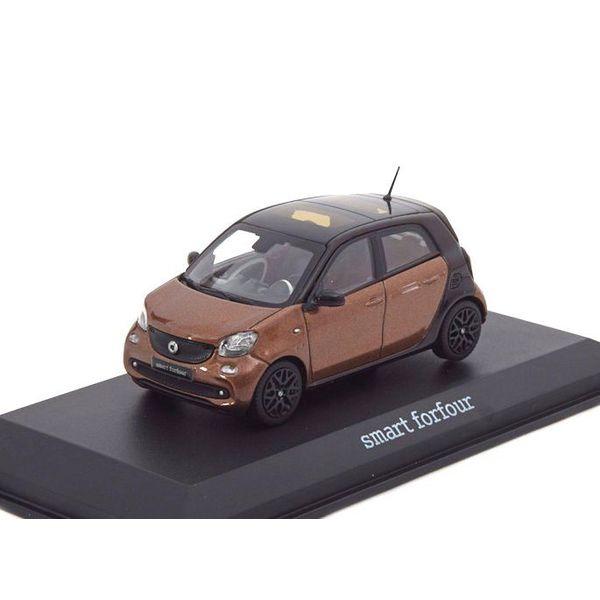 Modelauto Smart Forfour 2014 bruin metallic/zwart 1:43