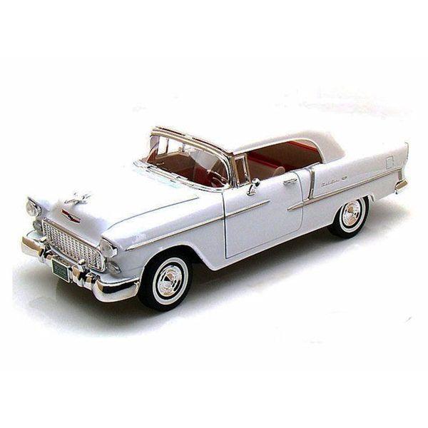 Model car Chevrolet Bel Air Closed Convertible 1955 white 1:18