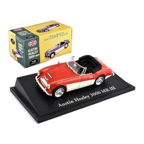 Austin Healey 3000 Mk III rood/wit - Modelauto 1:43