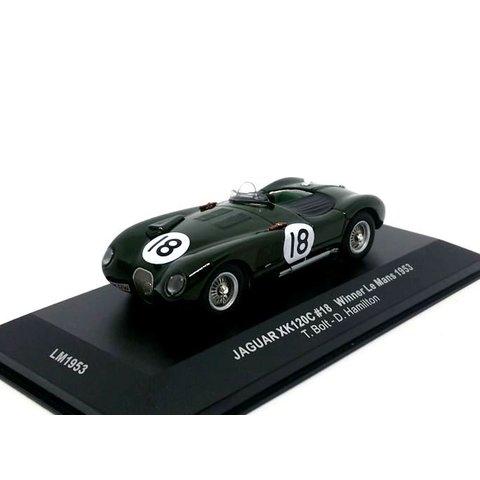 Jaguar XK120C No. 18 1953 donkergroen - Modelauto 1:43