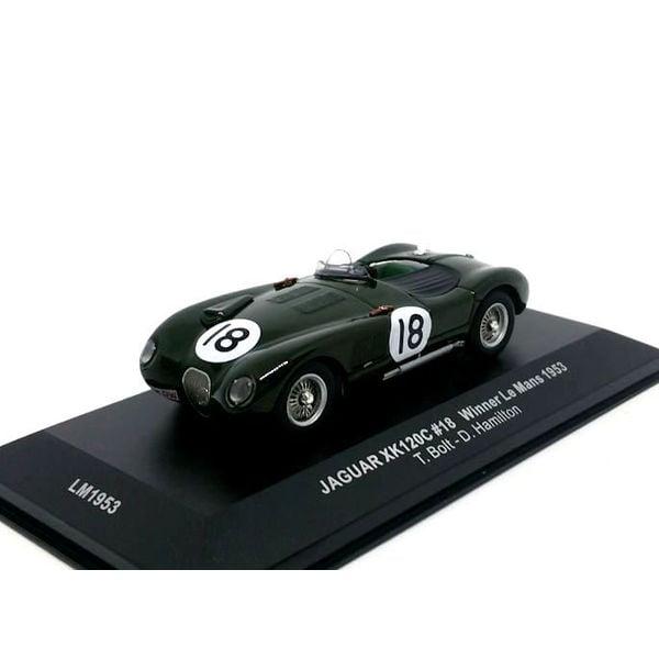 Modelauto Jaguar XK120C No. 18 1953 donkergroen 1:43   Ixo Models