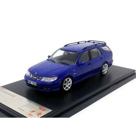 Premium X Modelauto Saab 9-5 Sport Combi Aero 2002 blauw metallic 1:43   Premium X
