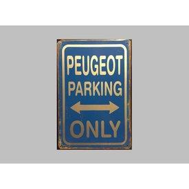 Parking Sign Peugeot 20x30 cm blauw / zilver