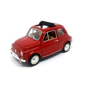 Bburago Fiat 500L 1968 rood - Modelauto 1:24
