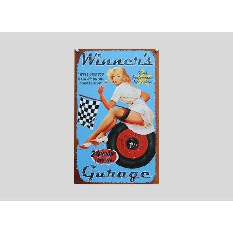 Tin sign Winner's Garage 20x30 cm