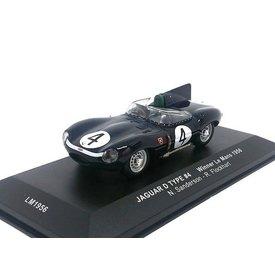 Ixo Models Jaguar D-type No. 4 1956 donkerblauw - Modelauto 1:43