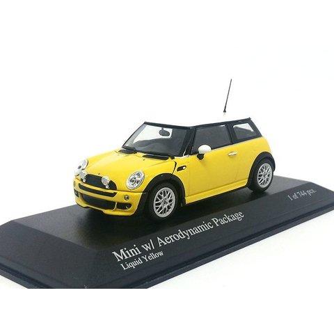 Modelauto Mini One met Aerodynamic Package geel 1:43