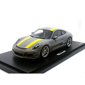 Spark Porsche 911 R (991) 2017 Nardo grey/yellow - Model car 1:18