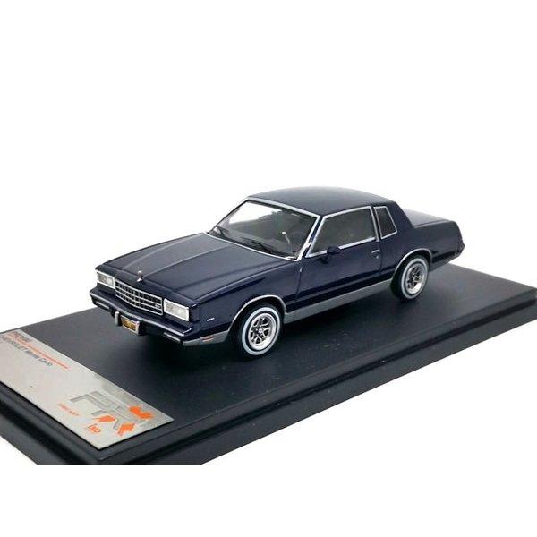 Chevrolet Monte Carlo 1981 donkerblauw - Modelauto 1:43