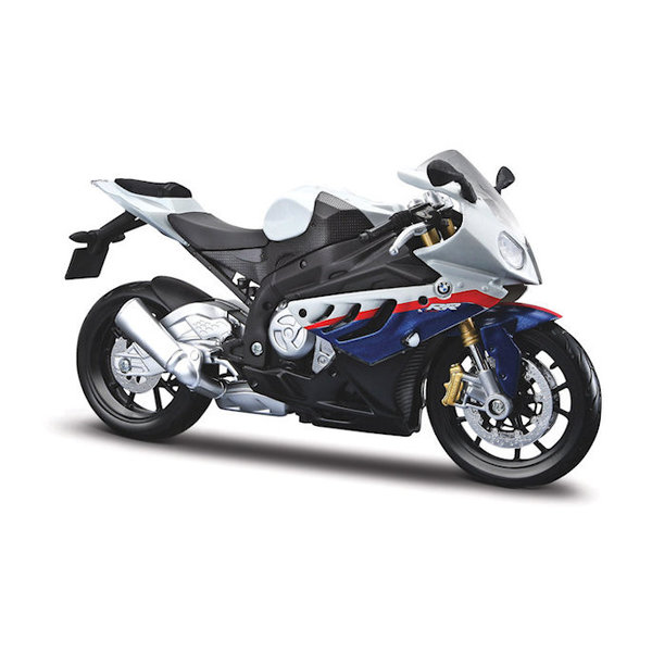Model motorcycle BMW S1000RR 2010 white/blue 1:12