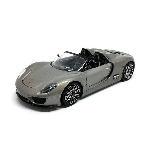 Modelauto Porsche 918 Spyder zilvergrijs 1:24