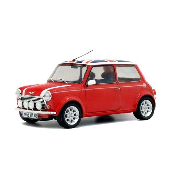 Mini Cooper 1.3i Sport Pack  rood/wit met vlag - Modelauto 1:18
