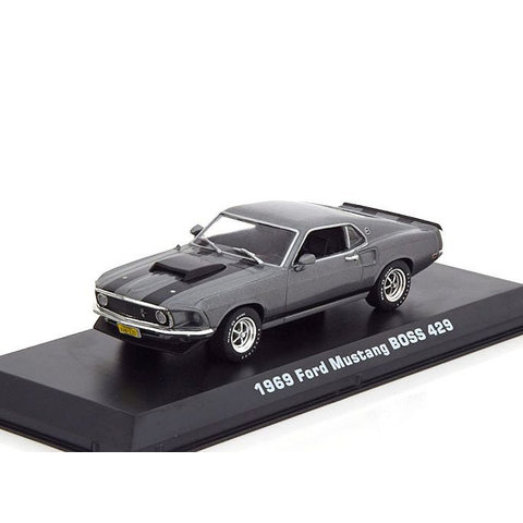 Modelauto Ford Mustang Boss 429 1969 grijs metallic 1:43