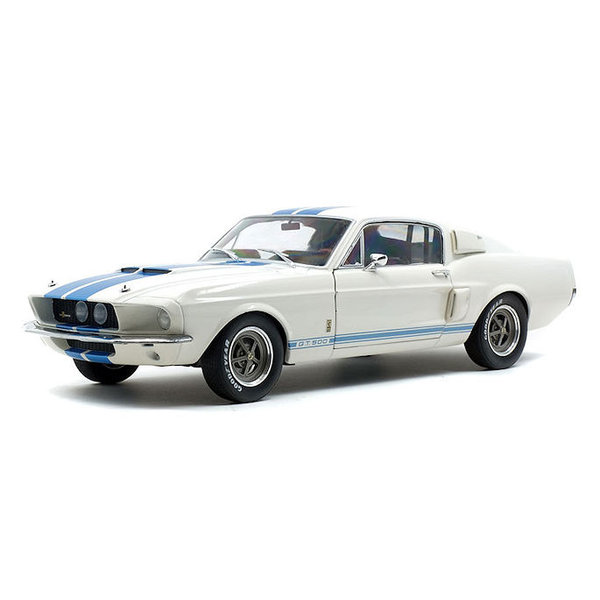 Modelauto Shelby Ford Mustang GT500 1967 wit/blauw 1:18