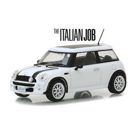 Greenlight Mini Cooper S 2003 `The Italien Job 2003` wit/zwart - Modelauto 1:43