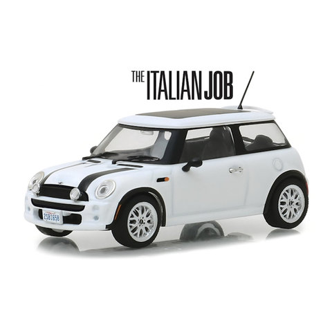 Mini Cooper S 2003 `The Italien Job 2003` wit/zwart - Modelauto 1:43