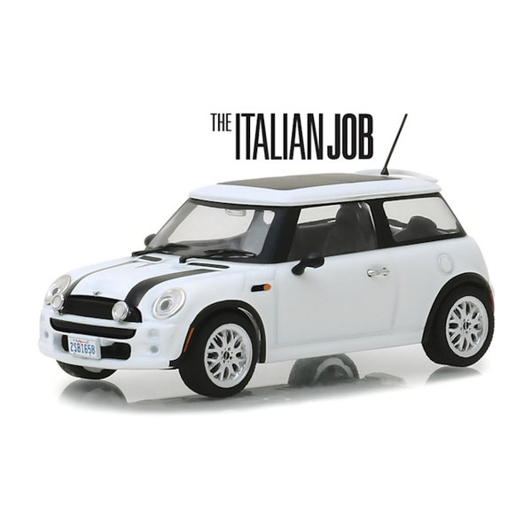 Modelauto Mini Cooper S 2003 `The Italien Job 2003` wit/zwart 1:43