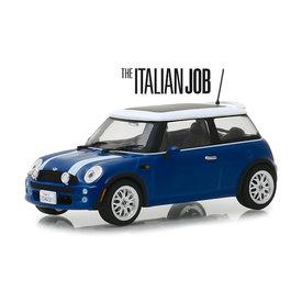 Greenlight   Modelauto Mini Cooper S `The Italien Job 2003` blauw/wit 1:43