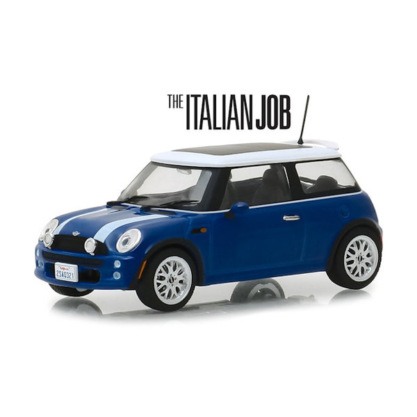 Modelauto Mini Cooper S 2003 `The Italien Job 2003` blauw/wit 1:43