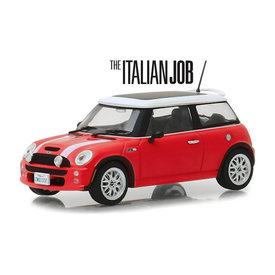 Greenlight Mini Cooper S 2003 `The Italien Job 2003` rood/wit - Modelauto 1:43