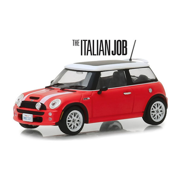 Modellauto Mini Cooper S 2003 `The Italien Job 2003` rot/weiß 1:43