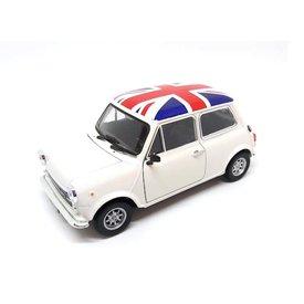 Welly Mini Cooper 1300 weiß mit Flag - Modellauto 1:24