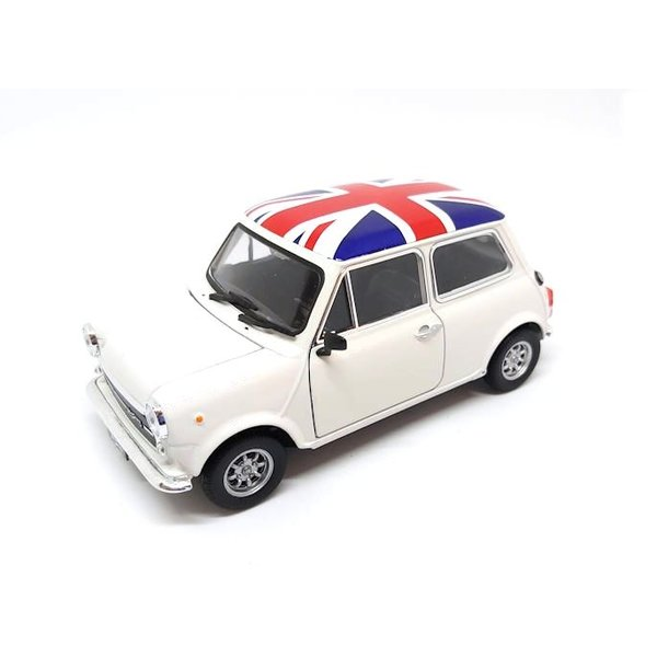 Model car Mini Cooper 1300 white with flag 1:24   Welly