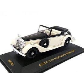 Ixo Models Alvis 4.3 Liter Drophead Convertible 1938 zwart/beige - Modelauto 1:43