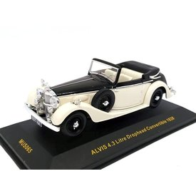 Ixo Models | Modelauto Alvis 4.3 Liter Drophead Convertible 1938 zwart/beige 1:43