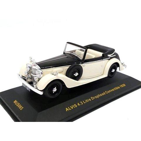 Alvis 4.3 Liter Drophead Convertible 1938 zwart/beige - Modelauto 1:43