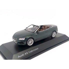 Spark Model car Audi A5 Cabriolet 2017 dark green metallic 1:43