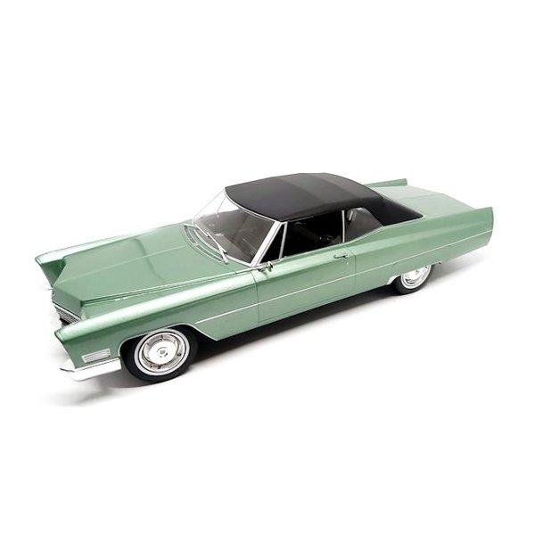 Modellauto Cadillac DeVille mit Softtop 1967 hellgrün metallic/schwarz 1:18
