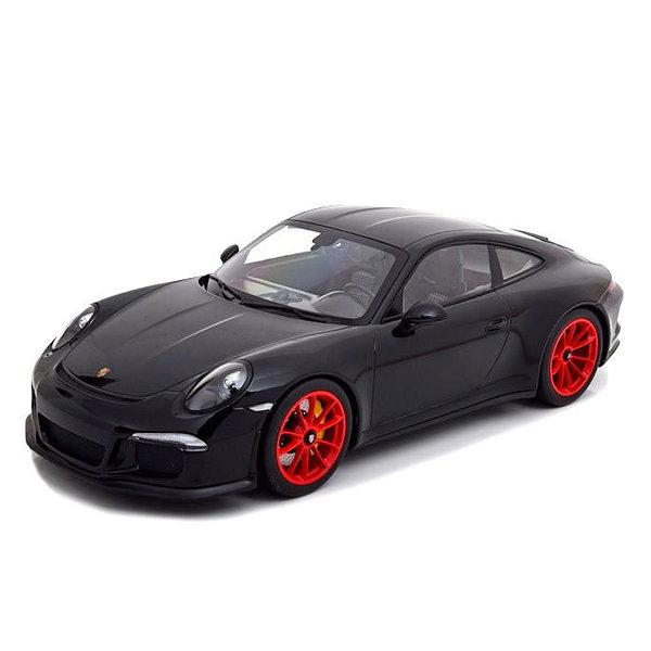 Modellauto Porsche 911 R 2016 schwarz mit roten Rädern 1:12
