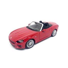 Bburago Fiat 124 Spider rood - Modelauto 1:24