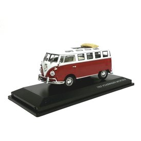 Lucky Diecast Volkswagen VW T1 Microbus 1962 rood/wit - Modelauto 1:43
