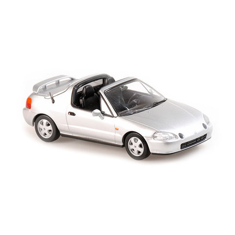 Honda CR-X Del Sol 1992 zilver metallic - Modelauto 1:43