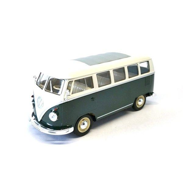 Modelauto Volkswagen VW T1 Bus 1963 groen/wit 1:24