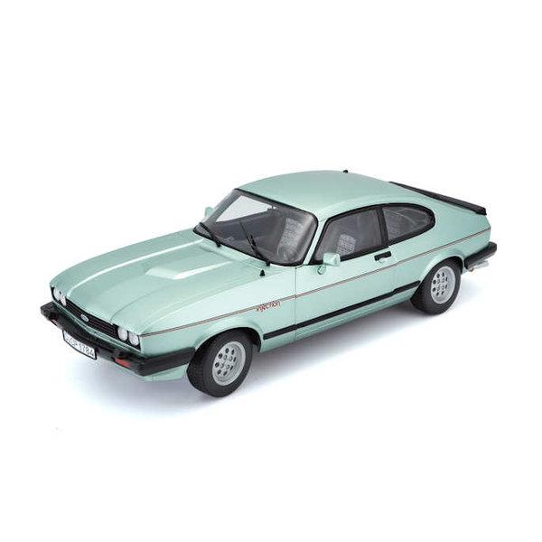 Model car Ford Capri Mk 3 2.8i 1973 light green metallic 1:24